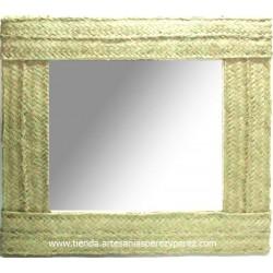 Espelho quadrado duplo pleita de esparto