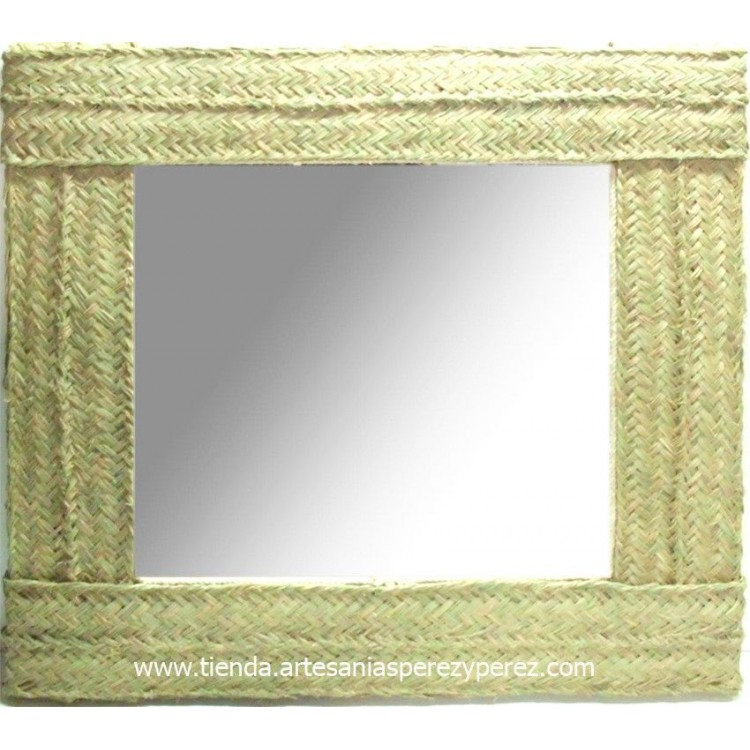 Espejo de esparto cuadrado doble pleita