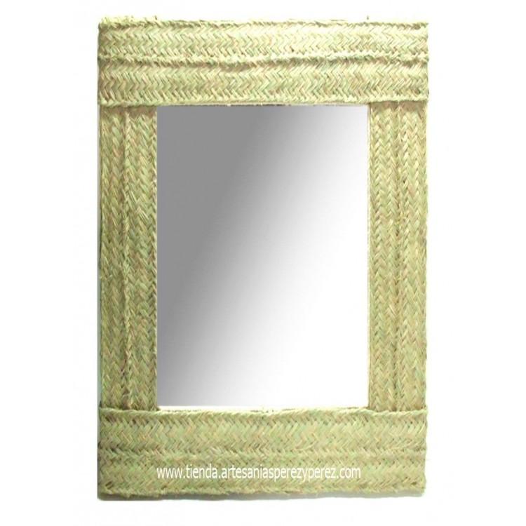 Espejo de esparto rectangular doble pleita vertical