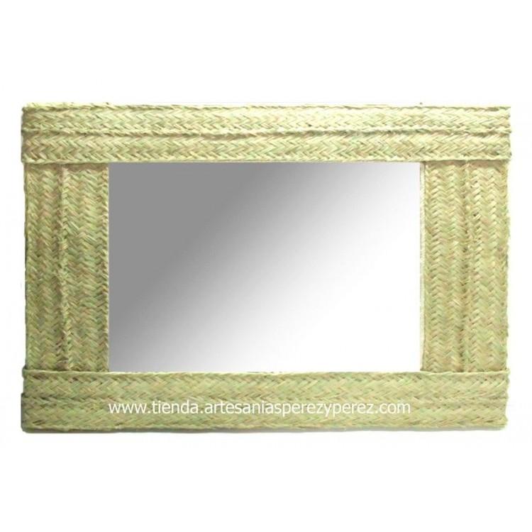 Espejo de esparto rectangular doble pleita Horizontal