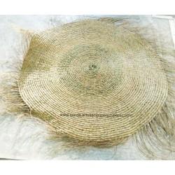 Cubierta con flecos de esparto natural para sombrilla de playa