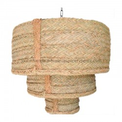 Triple round lamp made of natural esparto
