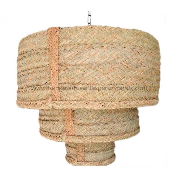Lámpara redonda triple de esparto natural