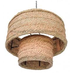 Lámpara redonda doble de esparto natural