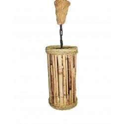 Lámpara redonda cañizo y esparto vertical