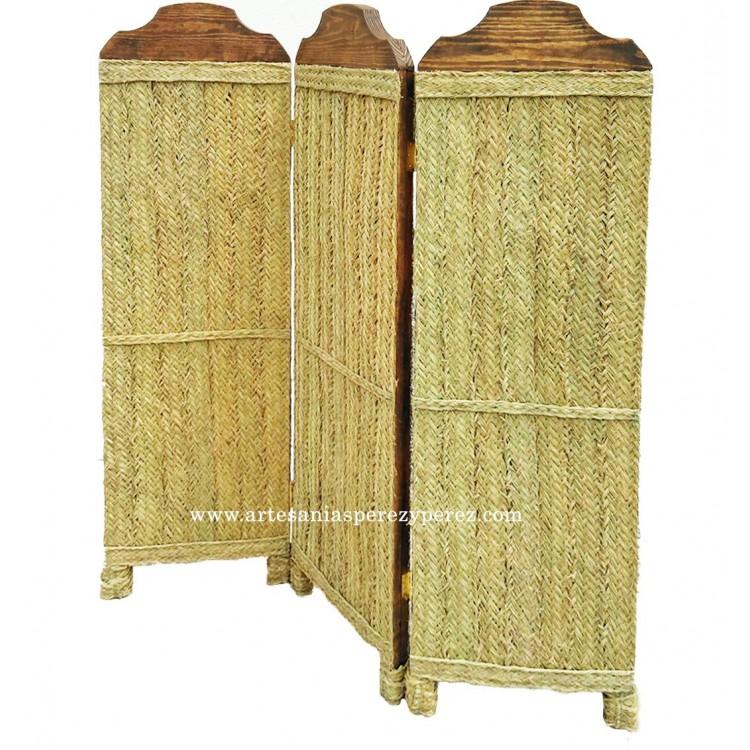Biombo de madera maciza y esparto natural
