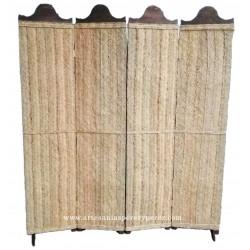 Painel de privacidade feita de madeira maciça e esparto natural (quatro painéis)