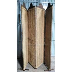 Biombo de esparto y madera