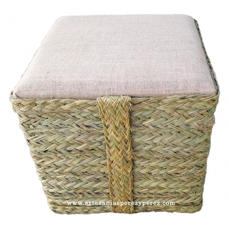 Taburete / puff cuadrado asiento de yute