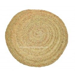 Round natural esparto rug