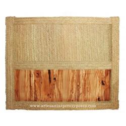 Cabeceira de esparto natural e madeira de oliveira