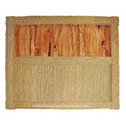 Inverted headboard of natural esparto and olive wood