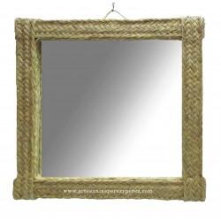 Square mirror of natural esparto
