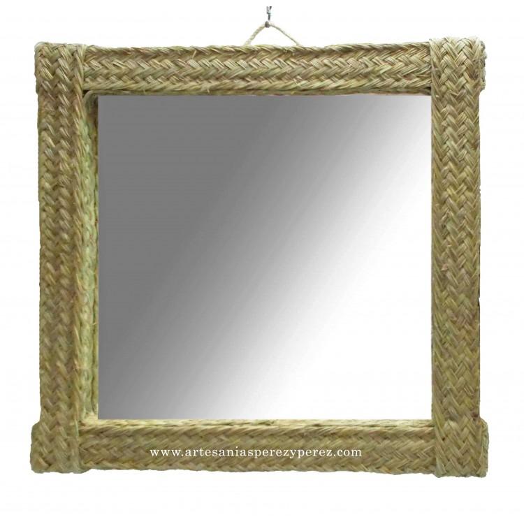 Espejo cuadrado de esparto natural