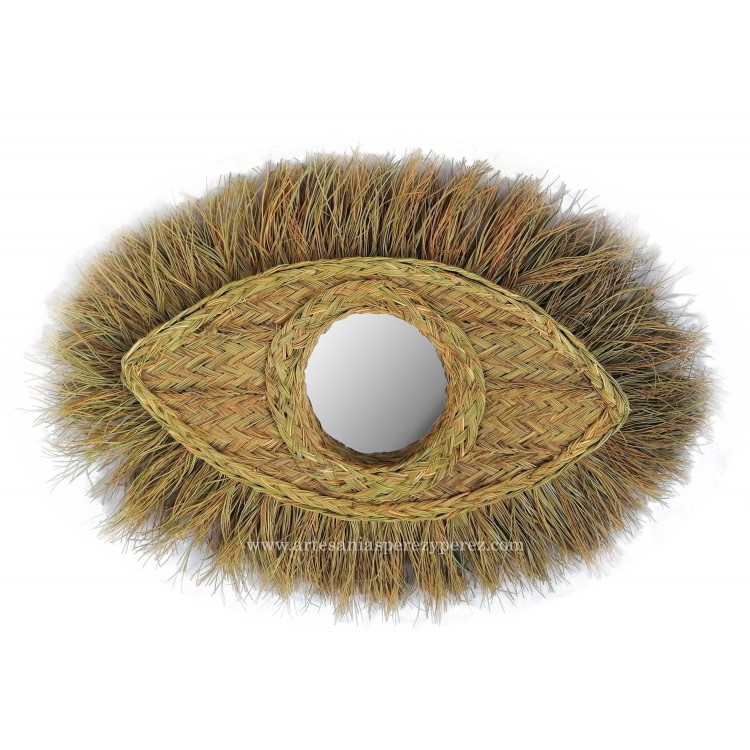Espejo ojo de Horus de esparto natural