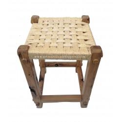 Tabouret rustique en bois d'olivier avec assise en sisal naturel