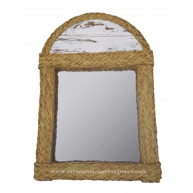 Arch mirror in natural chalk esparto