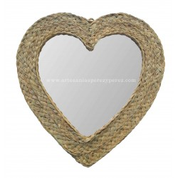 Espelho de coração em esparto natural