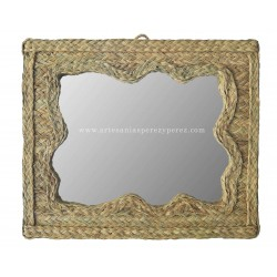Miroir ondulé horizontal en sparte naturel