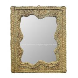Espelho com ondas horizontal em esparto natural