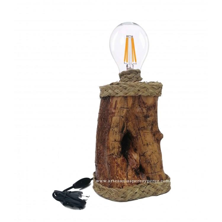 Lámpara mesita noche rústica en madera de olivo y esparto natural