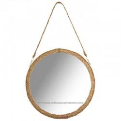 Espelho suspenso redondo com cabo de esparto