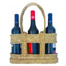 Botellero calado 3 botellas de esparto natural