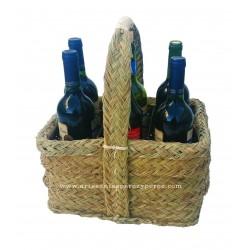Cesta botellero 6 botellas,rectangular de esparto y forja