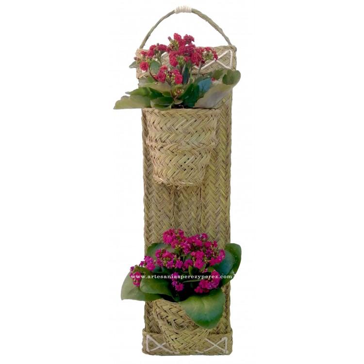 Macetero de pared hecho a mano con armazón de madera y esparto natural (  2 macetas)