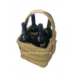 Porte-bouteilles carré en sparte (quatre bouteilles)