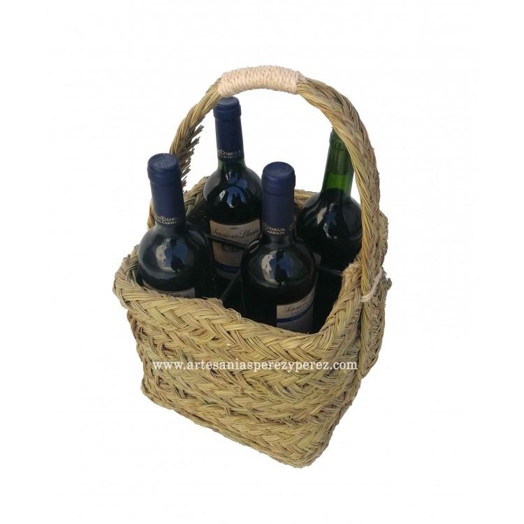 Cesta botellero redonda 4 botellas de esparto y forja
