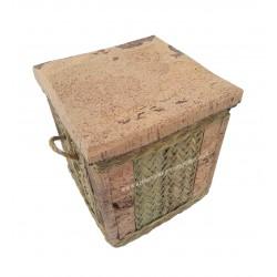 Tabouret / Pouf carrée en sparte et liège naturel