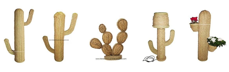 Cactus de esparto natural hecho a mano, varios tamaños